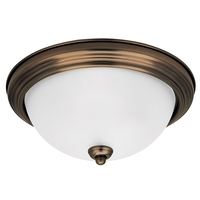 Signature 1 Light 11 inch Russet Bronze Flush Mount Ceiling Light in Satin Etched Glass