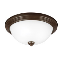 Signature 2 Light 13 inch Bell Metal Bronze Flush Mount Ceiling Light in Satin Etched Glass