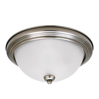 Signature 2 Light 13 inch Antique Brushed Nickel Flush Mount Ceiling Light in Satin Etched Glass