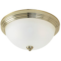 Signature 3 Light 15 inch Polished Brass Flush Mount Ceiling Light in Satin Etched Glass