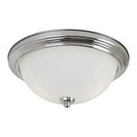 Sea Gull 79565BLE-05 Signature 3 Light 15 inch Chrome Flush Mount Ceiling Light in Satin Etched Glass photo thumbnail