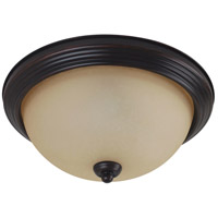 Sea Gull 79565BLE-710 Signature 3 Light 15 inch Burnt Sienna Flush Mount Ceiling Light in Amber Scavo Glass photo thumbnail
