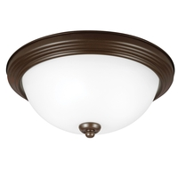 Signature 3 Light 15 inch Bell Metal Bronze Flush Mount Ceiling Light in Satin Etched Glass