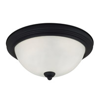 Sea Gull 79565BLE-839 Signature 3 Light 15 inch Blacksmith Flush Mount Ceiling Light in Satin Etched Glass photo thumbnail