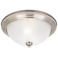 Albany 3 Light 15 inch Brushed Nickel Flush Mount Ceiling Light in Satin White Glass