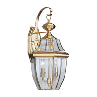 Sea Gull Lighting Lancaster 2 Light Outdoor Wall Lantern in Polished Brass 8039-02