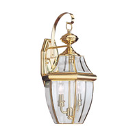 Sea Gull 8039EN-02 Lancaster 2 Light 21 inch Polished Brass Outdoor Wall Lantern