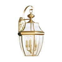 Sea Gull 8040EN-02 Lancaster 3 Light 23 inch Polished Brass Outdoor Wall Lantern