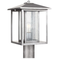 Sea Gull 82027-57 Hunnington 1 Light 15 inch Weathered Pewter Outdoor Post Lantern