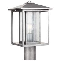 Sea Gull 82027-57 Hunnington 1 Light 15 inch Weathered Pewter Outdoor Post Lantern