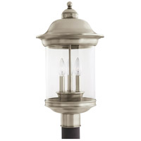 Sea Gull 82081-965 Hermitage 3 Light 20 inch Antique Brushed Nickel Outdoor Post Lantern