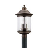 Sea Gull 82081EN-71 Hermitage 3 Light 20 inch Antique Bronze Ourdoor Post Lantern