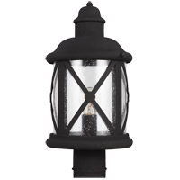 Lakeview 1 Light 16 inch Black Outdoor Post Lantern in Clear Seeded Glass