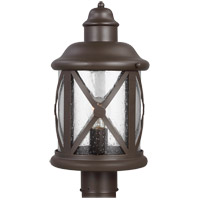 Lakeview 1 Light 16 inch Antique Bronze Outdoor Post Lantern in Clear Seeded Glass