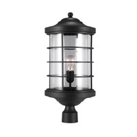 Sauganash 1 Light 22 inch Black Post Lantern in Fluorescent