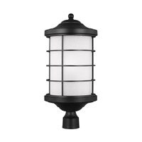 Sea Gull Lighting Sauganash 1 Light Outdoor Post Lantern in Black with Etched Seeded Glass 8224451BL-12