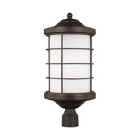Sea Gull Lighting Sauganash 1 Light Outdoor Post Lantern in Antique Bronze with Etched Seeded Glass 8224451BL-71
