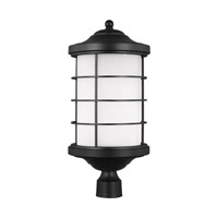 Sea Gull Lighting Sauganash LED Outdoor Post Lantern in Black with Etched Seeded Glass 8224491S-12