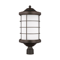 Sea Gull Lighting Sauganash LED Outdoor Post Lantern in Antique Bronze with Etched Seeded Glass 8224491S-71