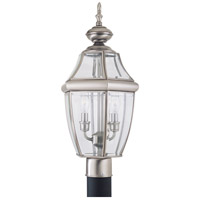 Lancaster 2 Light 22 inch Antique Brushed Nickel Outdoor Post Lantern