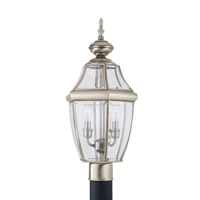 Lancaster 2 Light 22 inch Antique Brushed Nickel Ourdoor Post Lantern
