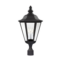 Sea Gull Lighting Brentwood 3 Light Outdoor Post Lantern in Black 8231-12