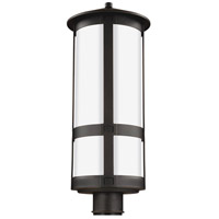 Sea Gull Lighting Groveton 1 Light Outdoor Post Lantern in Antique Bronze with Opal Cased Etched Glass 8235901-71