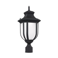 Sea Gull Lighting Childress LED Outdoor Post Lantern in Black with Satin Etched Glass 8236391S-12