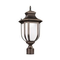Sea Gull Lighting Childress LED Outdoor Post Lantern in Antique Bronze with Satin Etched Glass 8236391S-71