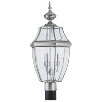 Sea Gull 8239-965 Lancaster 3 Light 24 inch Antique Brushed Nickel Outdoor Post Lantern photo thumbnail
