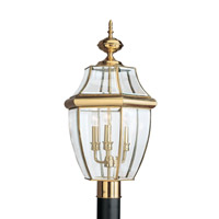 Sea Gull 8239EN-02 Lancaster 3 Light 24 inch Polished Brass Outdoor Post Lantern