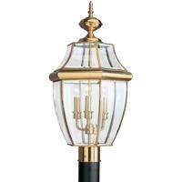 Sea Gull 8239EN-02 Lancaster 3 Light 24 inch Polished Brass Ourdoor Post Lantern