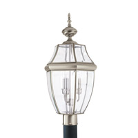 Lancaster 3 Light 24 inch Antique Brushed Nickel Ourdoor Post Lantern