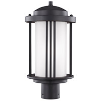 Sea Gull 8247901-12 Crowell 1 Light 17 inch Black Outdoor Post Lantern