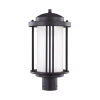 Sea Gull Lighting Crowell LED Outdoor Post Lantern in Black with Satin Etched Glass 8247991S-12