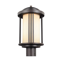 Sea Gull Lighting Crowell LED Outdoor Post Lantern in Antique Bronze with Creme Parchment Glass 8247991S-71