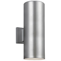 Sea Gull 8313802-753 Bullets 2 Light 14 inch Painted Brushed Nickel Outdoor Wall Sconce