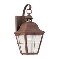 Sea Gull 8462-44 Chatham 1 Light 14 inch Weathered Copper Outdoor Wall Lantern in Clear Seeded Glass photo thumbnail
