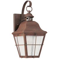 Sea Gull 8462D-44 Chatham 1 Light 14 inch Weathered Copper Outdoor Wall Lantern in Clear Seeded with inner white panels