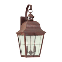 Chatham 2 Light 21 inch Weathered Copper Outdoor Wall Lantern in Clear Seeded Glass