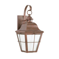 Sea Gull 8463D-44 Chatham 1 Light 21 inch Weathered Copper Outdoor Wall Lantern in Clear Seeded with inner white panels