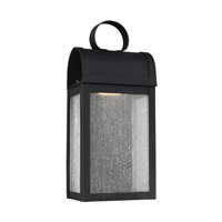 Sea Gull Lighting Conroe ADA LED Outdoor Wall Lantern in Black with Clear Seeded Glass 8514891S-12