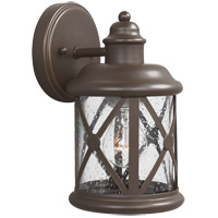 Lakeview 1 Light 10 inch Antique Bronze Outdoor Wall Sconce in Clear Seeded Glass