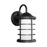 Sea Gull Lighting Sauganash LED Outdoor Wall Lantern in Black with Etched Seeded Glass 8524491DS-12