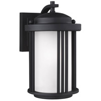 Sea Gull Lighting Crowell 1 Light Outdoor Wall Lantern in Black with Satin Etched Glass 8547901-12