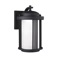 Sea Gull Lighting Crowell LED Outdoor Wall Lantern in Black with Satin Etched Glass 8547991DS-12