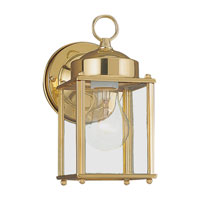 Sea Gull Lighting New Castle 1 Light Outdoor Wall Lantern in Polished Brass 8592-02