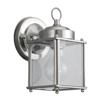 Sea Gull Lighting New Castle 1 Light Outdoor Wall Lantern in Antique Brushed Nickel 8592-965