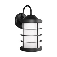 Sea Gull Lighting Sauganash LED Outdoor Wall Lantern in Black with Etched Seeded Glass 8624491DS-12