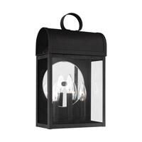Sea Gull Lighting Conroe 3 Light Outdoor Wall Lantern in Black with Clear Glass 8714803-12